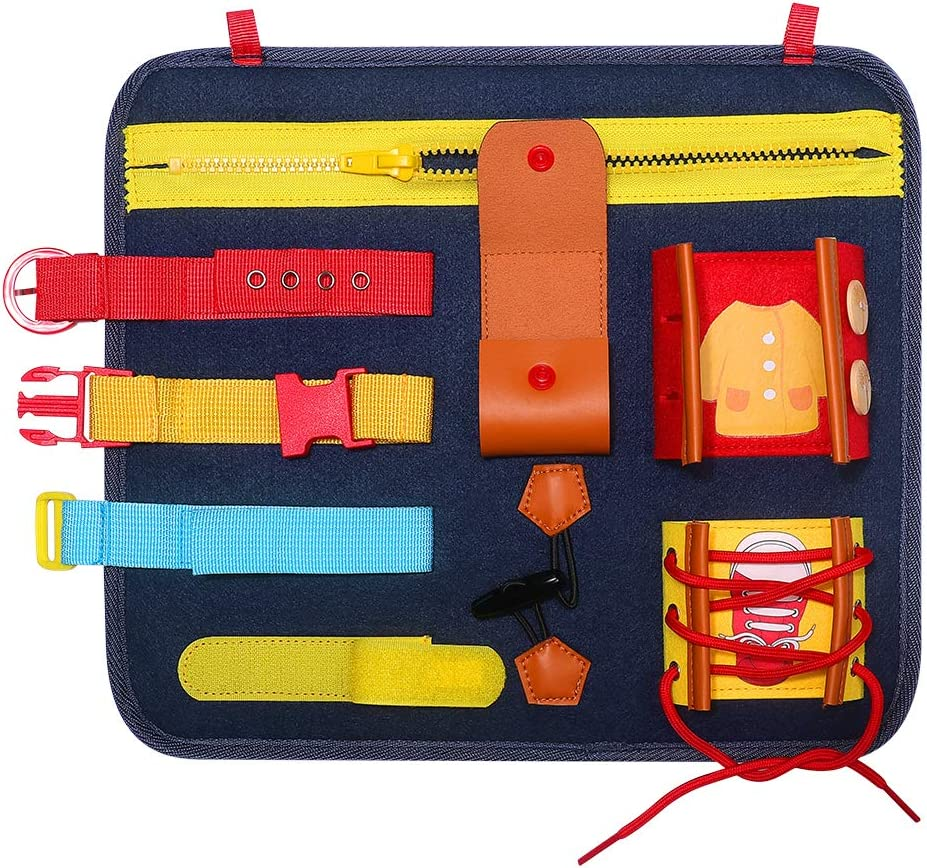 Developmental Toys with Zippers Buttons Busy Board Toy for Toddlers Buckles for Kids Holiday Gifts,Blue Blue