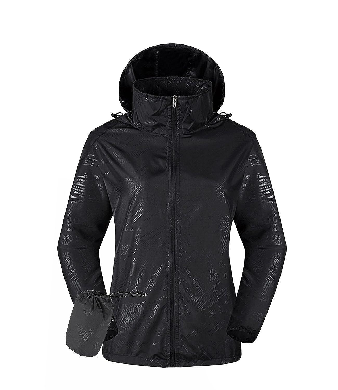 Black Minghe Women's Lightweight Jacket UV Predect+Quick Dry Windproof Skin Coat