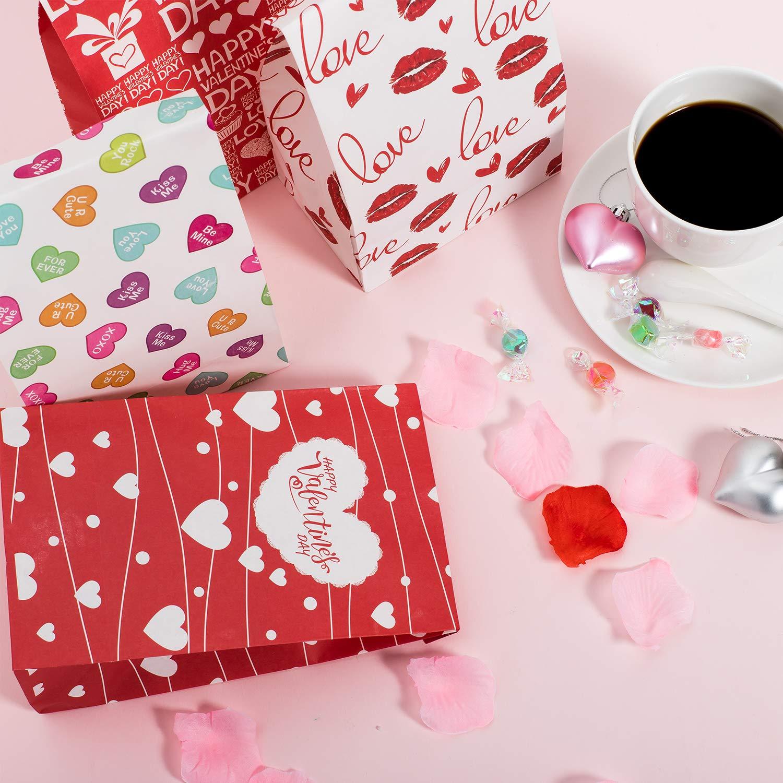 per bomboniere di San Valentino San Valentino Confezione da 60 Sacchetti Regalo di Carta per San Valentino a Forma di Cuore Aula Festa di galentine Whaline dolcetti e dolcetti