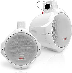 "Waterproof Marine Wakeboard Tower Speakers - 8in Dual Subwoofer Speaker Set and 1"" Tweeter with 300 Watt Power - 2-Way Boat Audio Stereo System with Mounting Bracket - 1 Pair - Pyle PLMRW85 (White)"