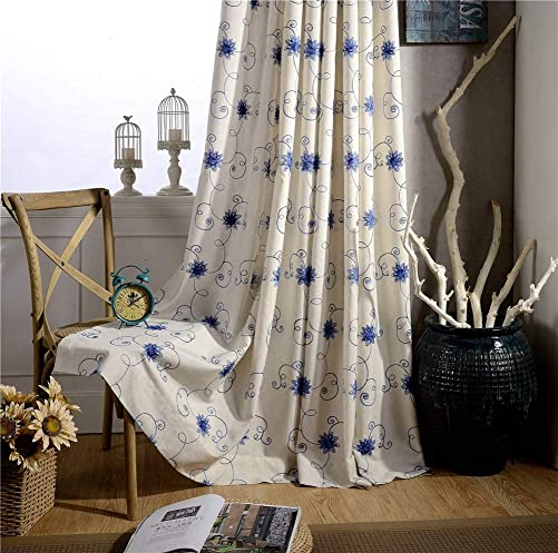 Best window curtain panel: BW0057 Modern Rural Floral Cotton Linen Embroidery Window Curtain Treatment Rod Pocket Panel Drape Bedroom Living Room Dining Room-002 1 Panel