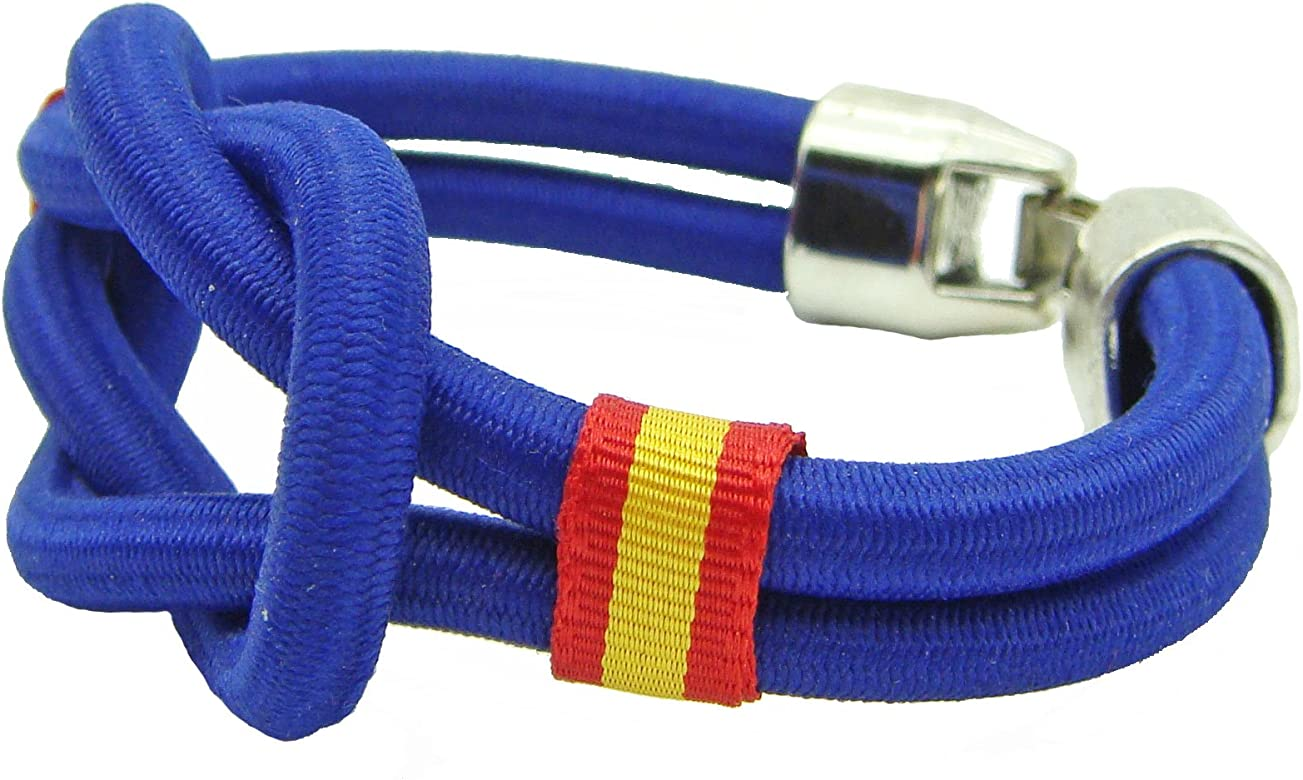Pi201 - Pulsera España Nudo náutico/cordón Nylon/azulón/Cinta Bandera de España en Laterales / 19cm / recomendamos medirse muñeca para calcular Talla: Amazon.es: Joyería