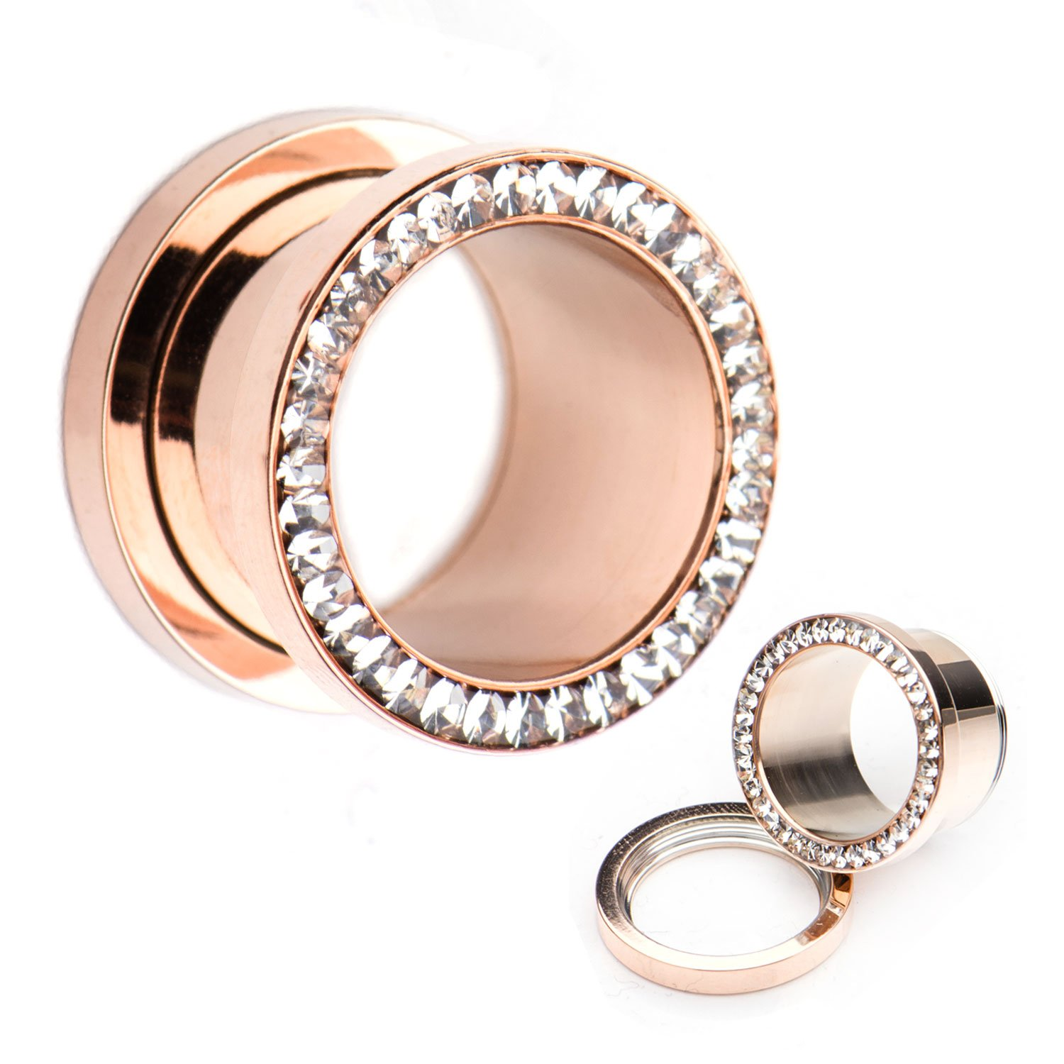 Screw Fit Rose Gold PVD Plated with Multigem Clear CZ WildKlass Plugs (00g) by WildKlass Jewelry
