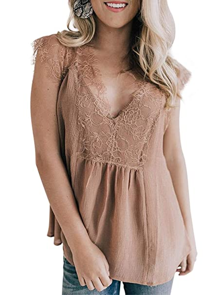 a4a32163d4f Sidefeel Women Crochet Lace Tank Top Sleeveless Loose Fitting Tunic Small  Apricot