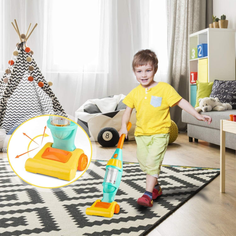 LOVEYue Macchina per La Pulizia della Musica Elettrica della Casa delle Bambole Aspirapolvere Giocattolo Robot Spazzante Set Regalo Giocattolo Intellettuale per Bambini Perfetti Blu
