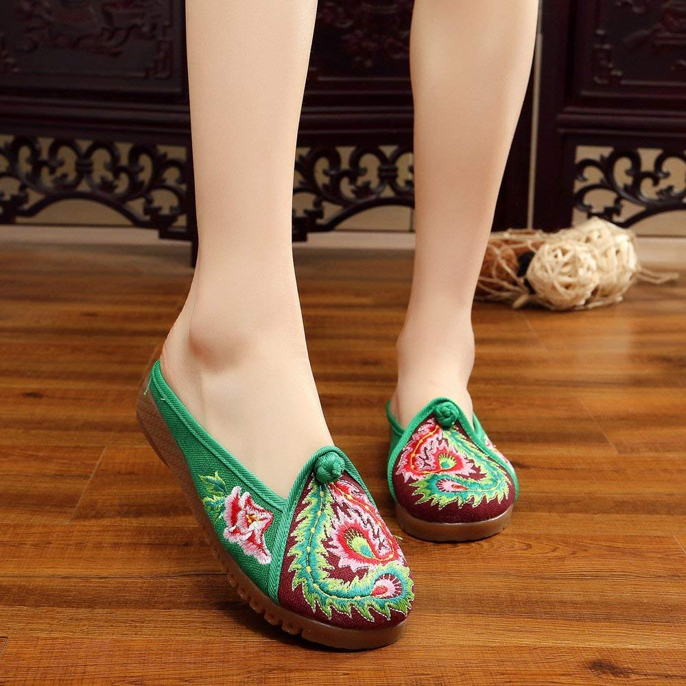 Moontang Bestickte Schuhe Sehnensohle ethnischer Stil weiblicher Flip Flop Flop Flop Mode Bequeme lässige Sandalen grün 39 (Farbe   - Größe   -) f37689