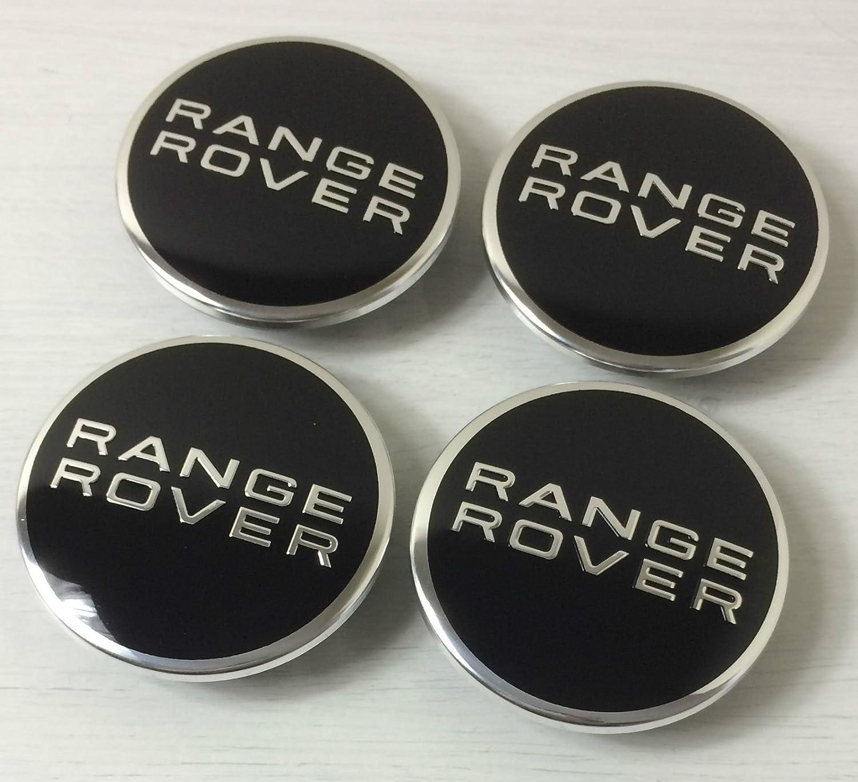 4/x Range Rover 63/mm Buje tapas Buje Tapa Tapacubos Llanta Tapa Cromo Negro