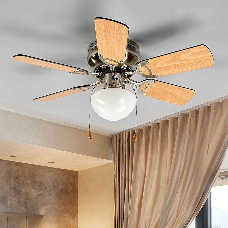 Lindby Deckenventilator mit Beleuchtung und Zugschalter leise & klein   4-in-4: Ventilator & Lampe  Durchmesser: 4 cm  4 Geschwindigkeitsstufen