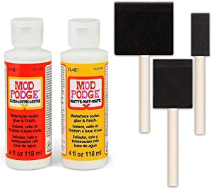 Mod Podge Decoupage Starter Kit, Gloss and Matte Medium with 3 Pixiss Foam Brushes, Waterproof for Puzzles, Wood and More