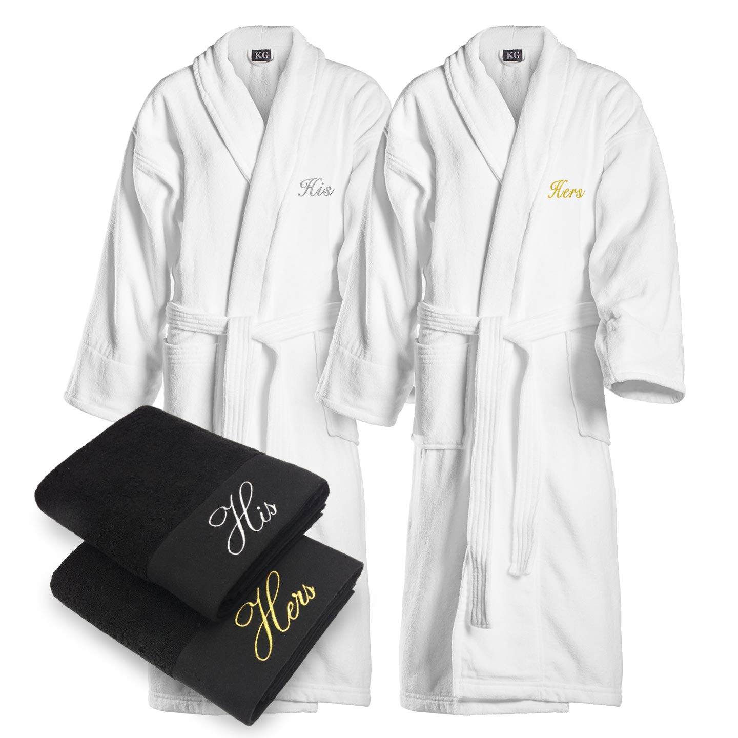 Kaufman - Terry Cloth Bathrobes 100% Cotton - His and Hers Embroidered Velour Shawl Set of Robes with His and Hers Black Towel Set 30''x58'' 4-PK
