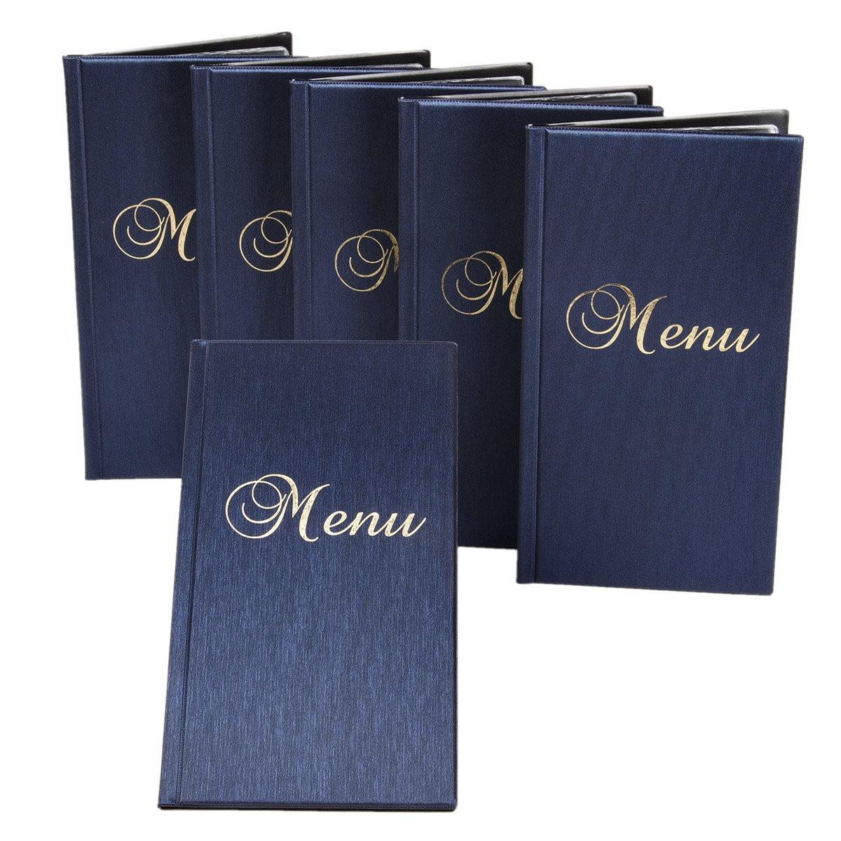 6 Stück Blau Metallic langformatige Speisekarten Menükarten 33 x 17,5 cm B07BJ9QCW7 | Online
