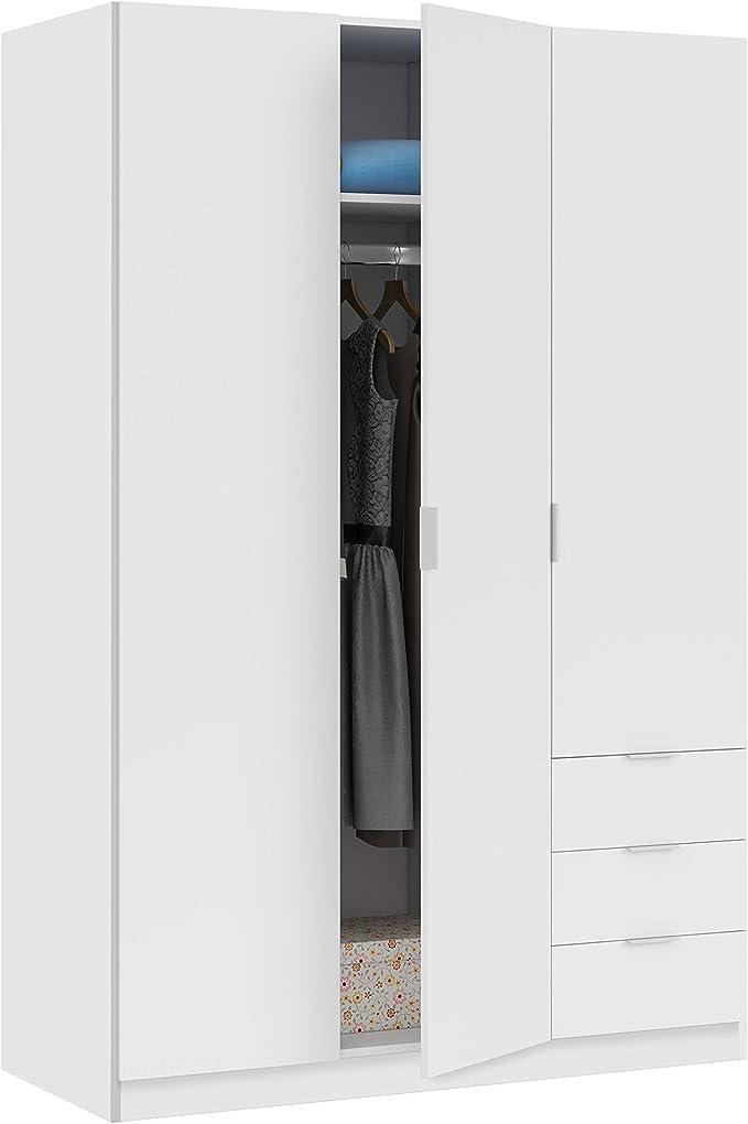 Habitdesign LCX323O - Armario ropero de Tres Puertas y Tres cajones, Color Blanco Mate, Medidas 121 cm (Largo) x 180 cm (Alto) x 52 cm (Fondo): Amazon.es: Juguetes y juegos