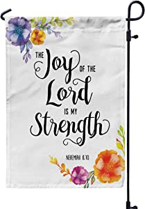 Shorping Thanksgiving Garden Flag, 12x18Inch for Holiday and Seasonal Double-Sided Printing Yards Flags Joy of The Lord is My Strength Scripture Typography Design