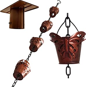 Butterfly 8.5FT Large Iron Rain Chains for Drain Gutter Through Downspouts and Rain Barrel with Rain Chain Gutter Adapter - Outdoor Rust-Resistant Plated Iron Trendy and Thick Black Garden Décor