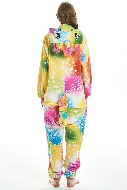 40d93312b0 Amazon.com  JYUAN Unisex Adult Animal Onesie Pajamas Unicorn Cosplay  Christmas Halloween Costume Sleepwear for Women Men  Clothing
