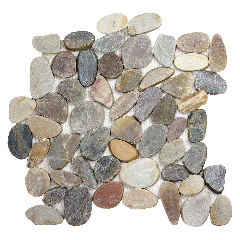 Pebble Stone Sliced Mixed Tile - Irregular Pieces on 12x12 Mesh Mounted Sheet for Walls, Floors, Kitchen Backsplashes (Box of 10 Sheets)