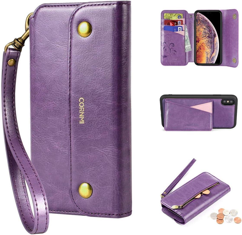 CORNMI iPhone Xs Max Wallet Case, Zipper Pocket 8Card Holders Wrist Strap Kickstand Detachable Purse Leather Folio Flip Protective Cover for Apple XS Max Purple