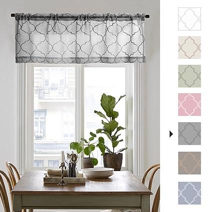 Amazon.com: jinchan Sheer Valance for Living Room/Bedroom Voile ...