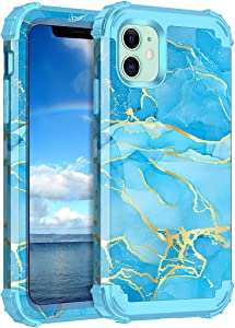 Casetego for iPhone 11 Case,Heavy Duty Shockproof 3 Layer Hard PC+Soft Silicone Bumper Rugged Anti-Slip Protective Cases for Apple iPhone 11 6.1 inch,Blue Marble