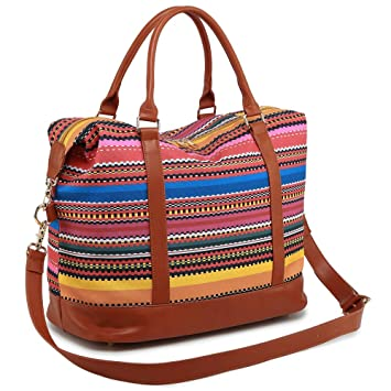 45457c12cb3 Amazon.com   Women Ladies Weekender Bag Overnight Carry-on Tote Duffel in Trolley  Handle (Bohemia)   Carry-Ons