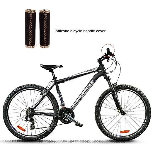 Aolvo - Puños de manillar de piel para bicicleta, con doble cierre, con 2 tapas para manillar de bicicleta, antideslizantes, a prueba de golpes, ...