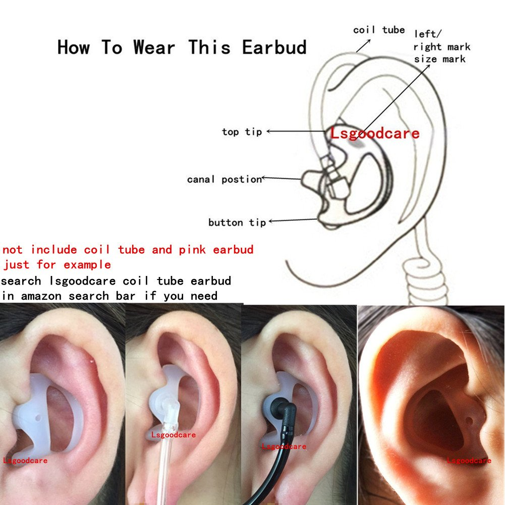 10 Pairs Small Open Ear Insert Earmould Earbuds White for Two Way Radio Acoustic Coil Tube Earpiece Soft Silicone Material Left and Right Ear Replacement Earmold Earbud Lsgoodcare