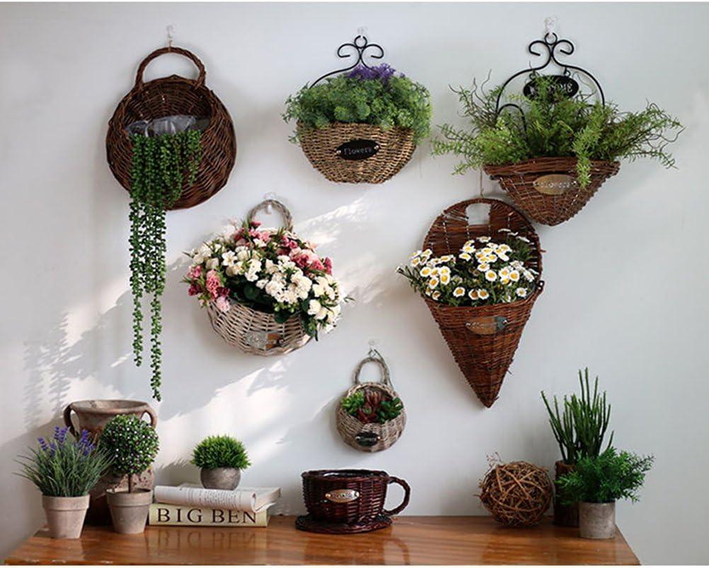 21 centimetri naturale VORCOOL 2/pezzi appeso vaso fioriera da parete Decorazione Cestino in vimini