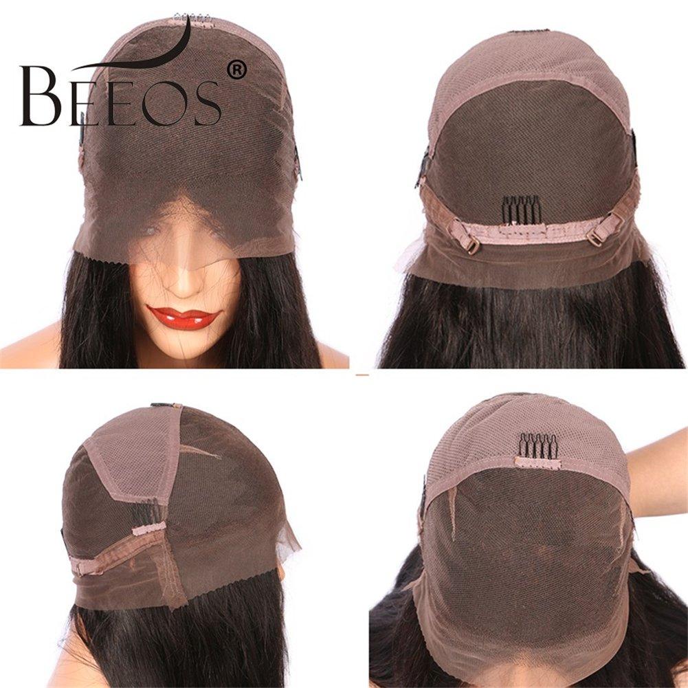 Beeos Hair Full Lace Bob Wigs For Black Women Human Hair Short Wigs Bleached Knots Glueless Silk Straight Brazilian Virgin Human Hair 10 Inch