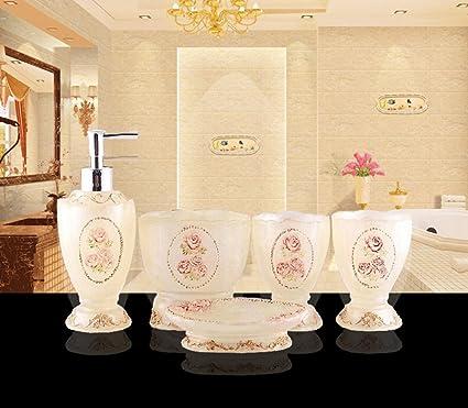 hongs lujo Royal baño Set de accesorios para baño champú dispensador de jabón plato soporte cepillo