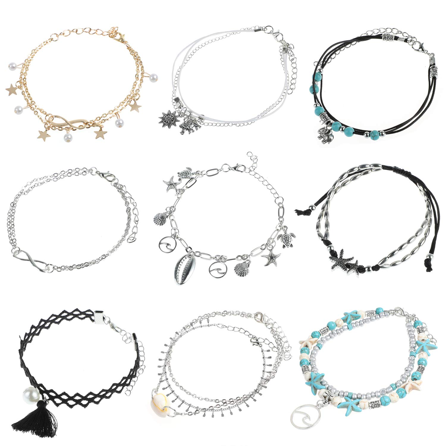 Adjustable Barefoot Ankle Chains Starfish Turtle Jewelry MWOOT Pack 9 Summer Beach Anklet Bracelets Set for Women Girls