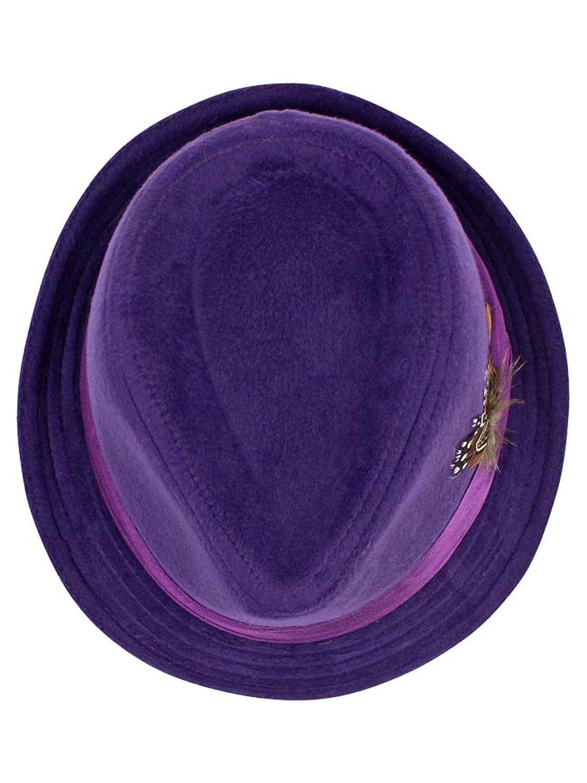 9d2c9334c Purple Wool Felt Fedora Hat with Feather Trim