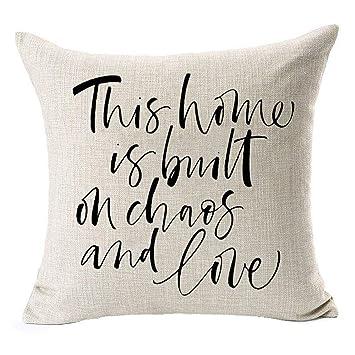 Amazon.com: HSS - Funda de cojín cuadrada de lino y algodón ...