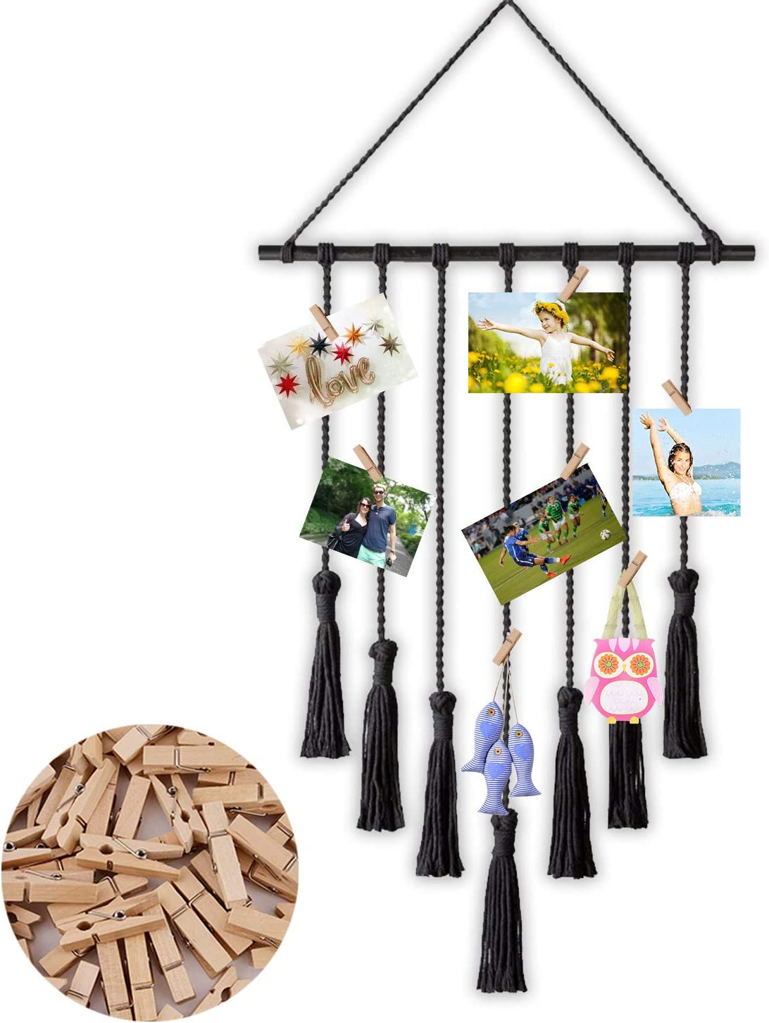 LATT Hanging Photo Display Picture Frame Macrame Wall Decor Hanging Pictures Organizer for Wall Bedroom Home Decoration 25 Wood Clips (Black)