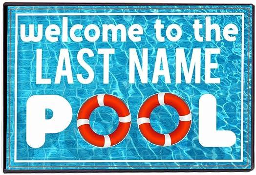 Victory Home Accessory Custom Swimming Pool Doormat – Welcome to The Pool Door mats – Custom Last Name Floor Mat 24×36 inches