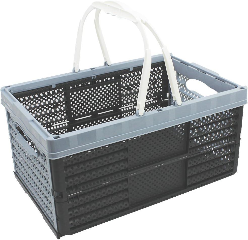 com-four® Caja Plegable con Asas de 16 litros - Caja de Transporte con Asas - Caja de Almacenaje Robusta - Cesta de Compras Plegable - 20 x 40 x 27 cm (01 Pieza - Gris): Amazon.es: Hogar
