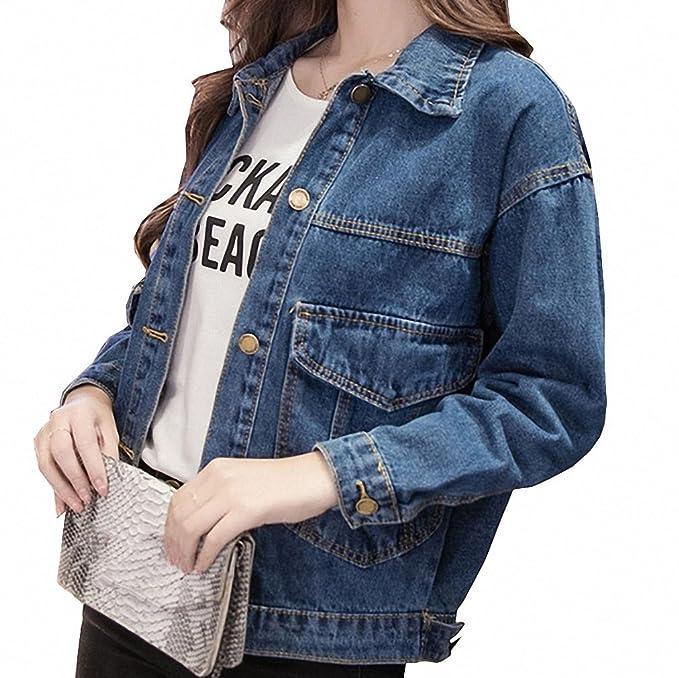Huiwa Womens Denim Jacket Big Pocket BF Style Solid Plus ...