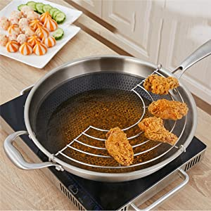 Stainless Steel Oil Draining Rack Pot Steamer Frying Tray Kitchen Cooking Frying Steaming Rack Strainer for Fry Pan