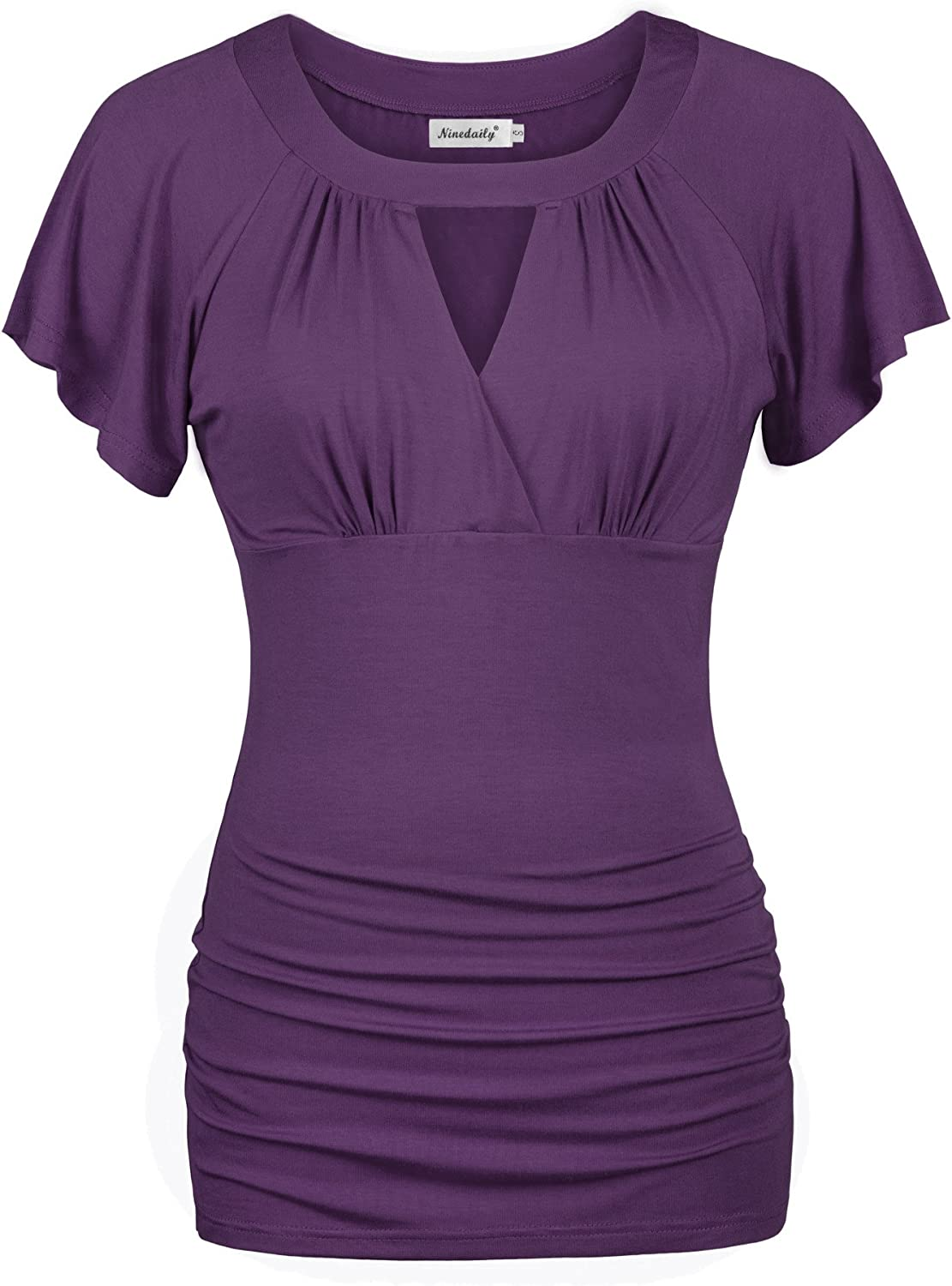 Ninedaily Women Dressy Tunic Tops Crossover V Neck Raglan Sleeve Ruched Blouse