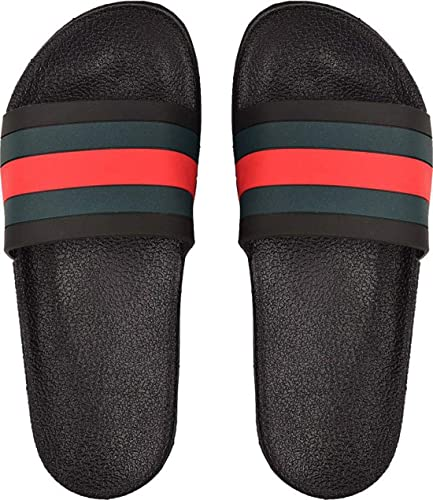 eed8b5424 Crostail Gucci Slides Slippers for Men Black: Buy Online at Low Prices in  India - Amazon.in