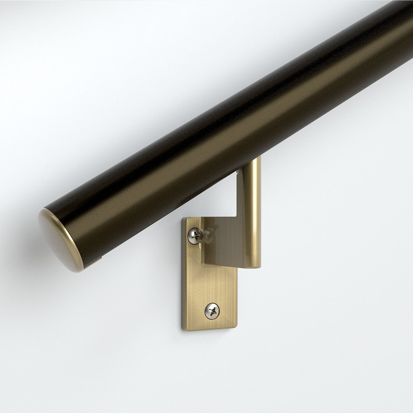 4ft. Handrail - Architectural Bronze Anodized Aluminum with 3 Antique Brass Wall Brackets and Endcaps - 1.6'' Round - Complete Kit