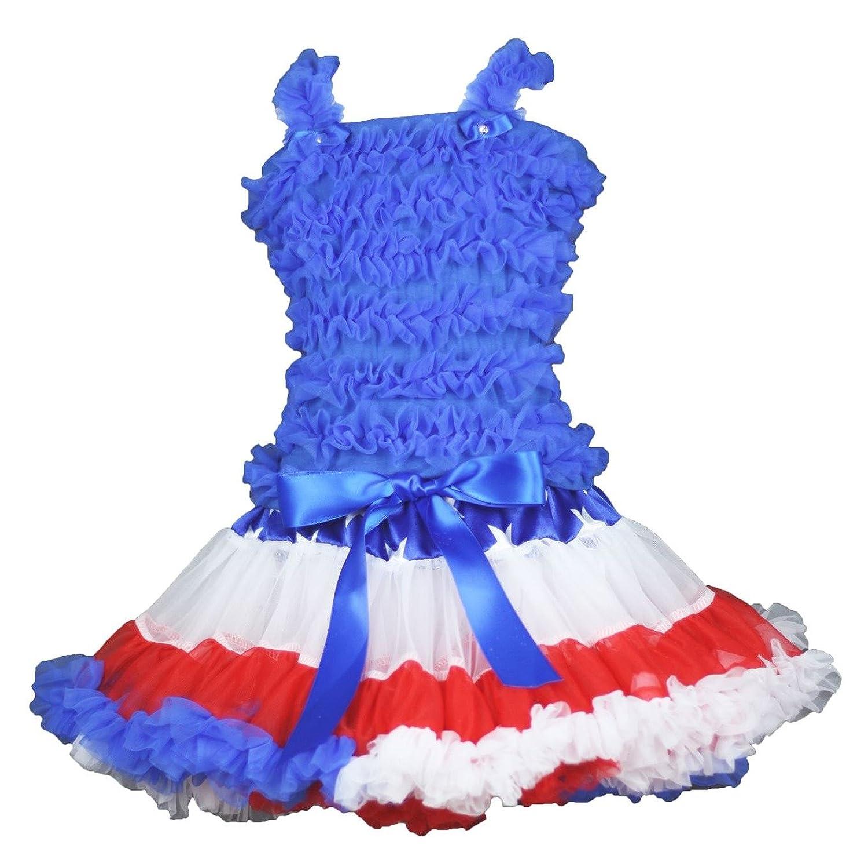 4th July Blue Ruffles Shirt RWB Stars Pettiskirt Girl Clothing Outfit Set 1-8y