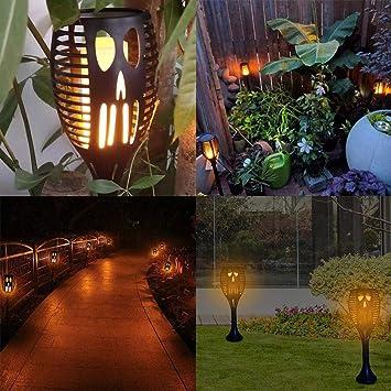julyso Llama Solar Luces, Gar Luces Jardin Solares Exterior Antorchas Jardin LED,Impermeable IP65 Lluminación del Paisaje de Atardecer Encendido supportable: Amazon.es: Bricolaje y herramientas