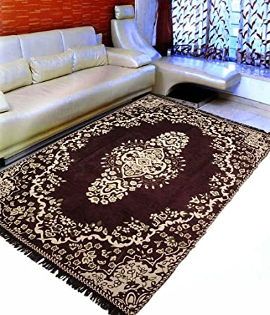 Ab Home Decor Velvet Touch Chenille Coffee Large Size Carpet for living room Hall Bedroom Floor Drawing Room 9 Feet (Length) x 6 Feet (width)