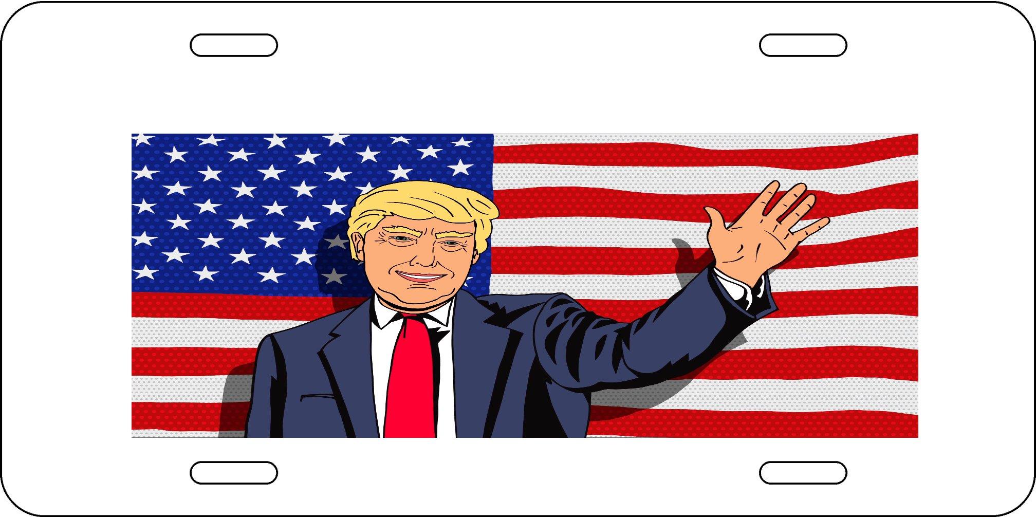 American Flag Caricature Cartoon President Caricature Aluminum License Plate for Car Truck Vehicles