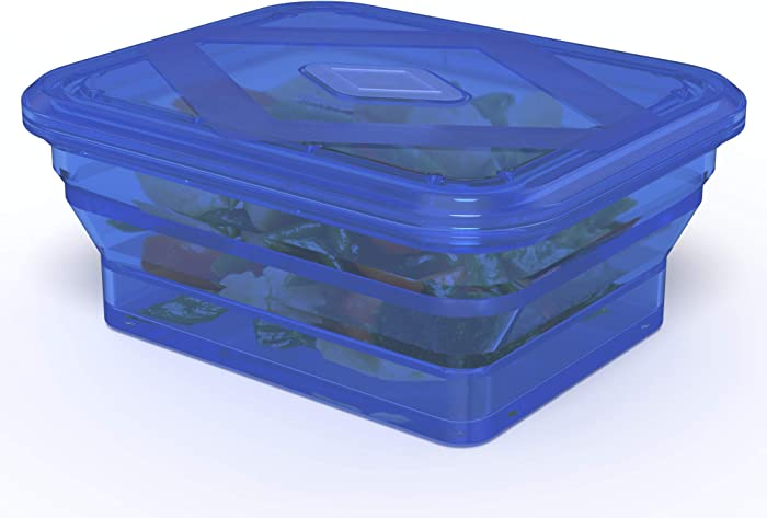 Bakerpan Silicone Collapsible Lunch Box for Adults and Kids, Rectangle Steamer Pot, Spill Proof Food Storage Container - 32 Fl Ounce (Transparent Blue)