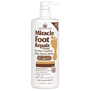 Miracle Foot Repair Cream | 32 Ounce Bottle | 60% Pure Aloe Vera Gel | Fast Relief for Dry, Cracked, Itchy Feet and Heels | Moisturizes | Softens | Restores Comfort | Stops Nasty Odor | Diabetic-Safe