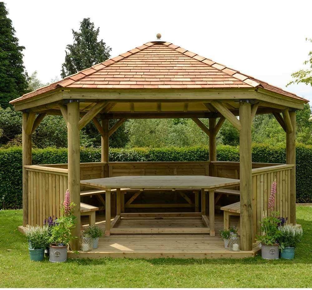 Forest - Carpa de jardín hexagonal de madera con techo de cedro de Inglaterra de 4, 7 m: Amazon.es: Jardín