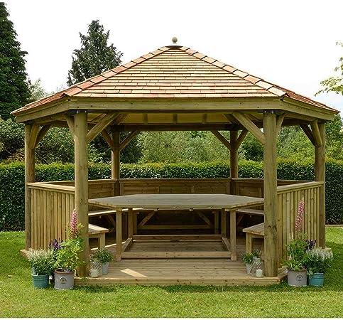 Forest - Carpa de jardín hexagonal de madera con techo de cedro de ...
