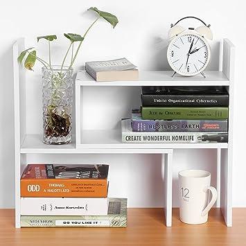 GOTOTOP DIY Standregal Bücherregal Tischorganizer Schreibtisch Tischregal  Aufbewahrungsregal (weiß)