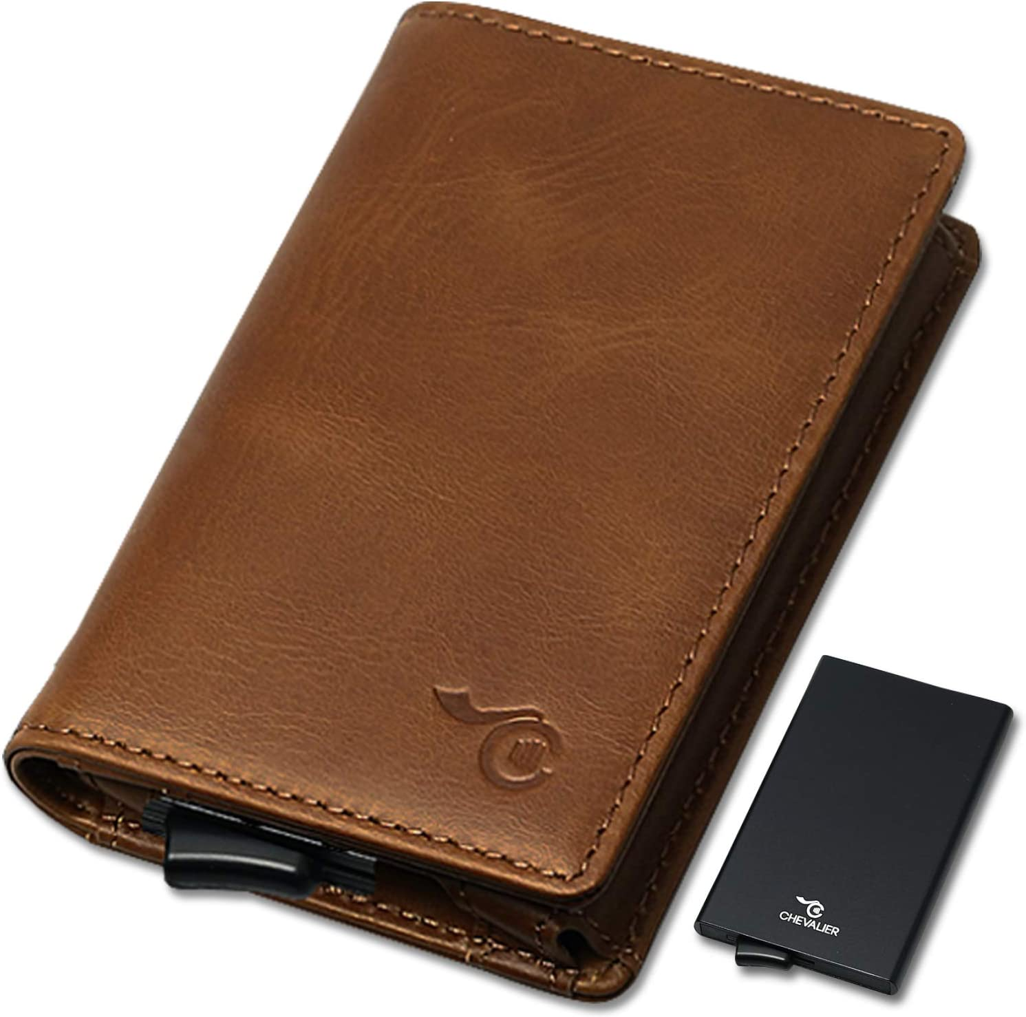 Card Holder Anti Piratage Portefeuille Mini en Cuir V/éritable C-CHEVALIER/® Homme Femme int/égrant Porte-Cartes de Cr/édit Aluminium Anti-RFID d/étachable /à /éjection Automatique Marron